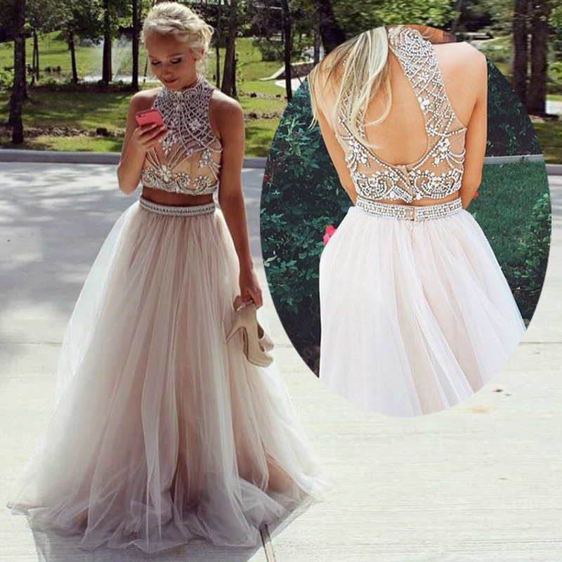 Real Sample Two Pieces Crystal Beads Prom Dresses Sexy High Neck Crop Top Open Back Party Dresses Nude Tulle Long Evening Gowns
