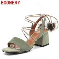 EGONERY Sandals Woman Good Quality Kid Suede Open Toe High Heels Shoes Pumps For Summer 2017