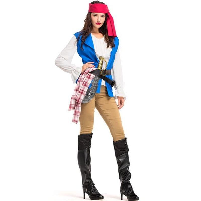 Pirate Costume Robe Fantaisie Homme Caraïbes Capitaine Jack Haute Mer Costume nouveau