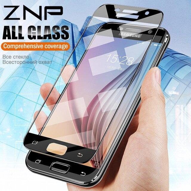 ZNP מגן זכוכית על עבור samsung A5 A7 A3 2017 A8 2018 S7 מזג זכוכית עבור Samsung j5 j7 2017 S7 מסך מגן סרט