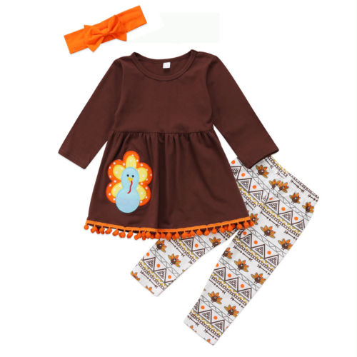 Toddler Kids Baby Girl Clothes Set Autumn Brown Long Sleeve Thanksgiving T Shirt Tops Leggings Headband Turkey Girl Outfit 3PCs