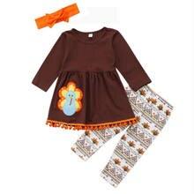 55c23728d2049 Thanksgiving dinde enfant en bas âge enfants bébé filles tenues vêtements à  manches longues t-shirt hauts + pantalons floraux Le.