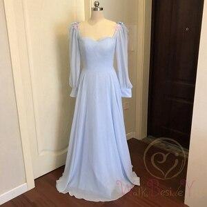 Image 2 - Небесно Голубые Вечерние платья с длинными рукавами из шифона с перьями, а силуэта, бальное платье для выпускного вечера, 2020, прогулка рядом с вами