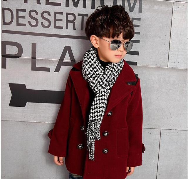 040f9f095 Classic English Style Wool Coat For Boys Fashion Autumn Winter ...