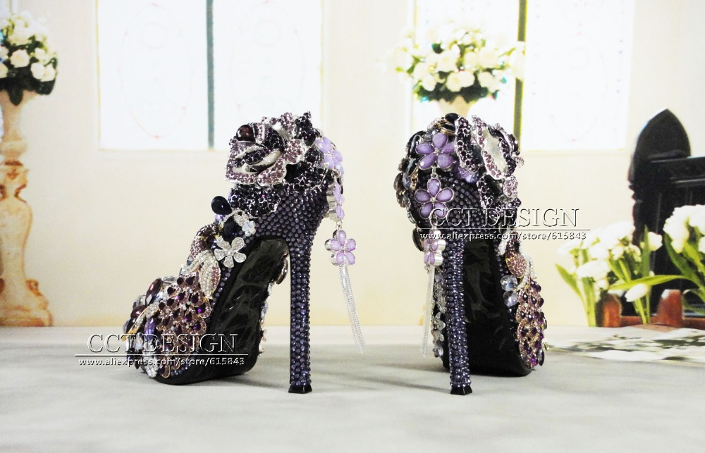 7ddb43f966 US $299.0 |handmade luxury jeweled peacock diamond platforms high heels  flowers crystal and rhinestones purple wedding bridal shoes-in Women's  Pumps ...