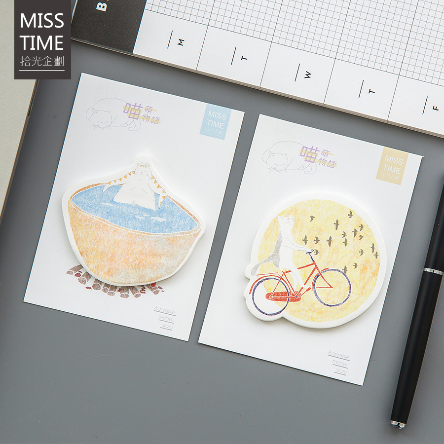 30Pcs/Pack Cute Meng Meow Cat Reading Bike Bath Universe Post It N Times Memo Pad Notebook Sticky School Label Gift M0313