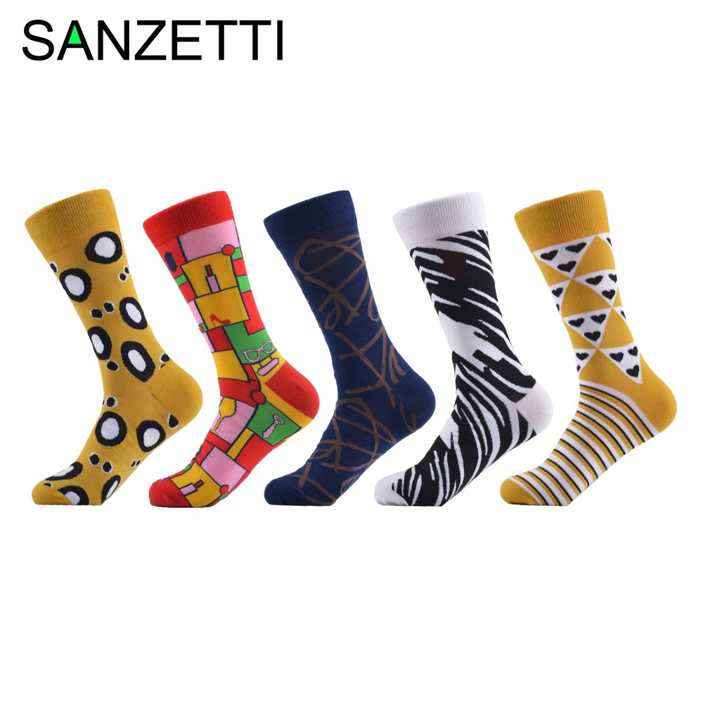Sanzetti 5 Pairs/lot Fashion Mens Combed Cotton Colorful Crew Skateboard Socks Funny Casual Dress Wedding Socks Novelty Gifts Men's Socks