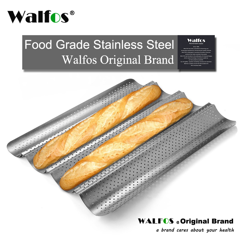 WALFOS  Brand 100% Food Grade Carbon Steel 4 Groove 2 Groove Wave French Bread Baking Tray For Baguette Bake Mold Pan