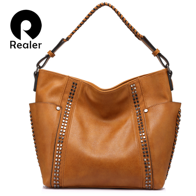 MAIS REAL marca de moda saco de ombro das mulheres bolsa bolsa das senhoras do sexo feminino casual grande capacidade com Rebite e Ruched Brown/ cinza