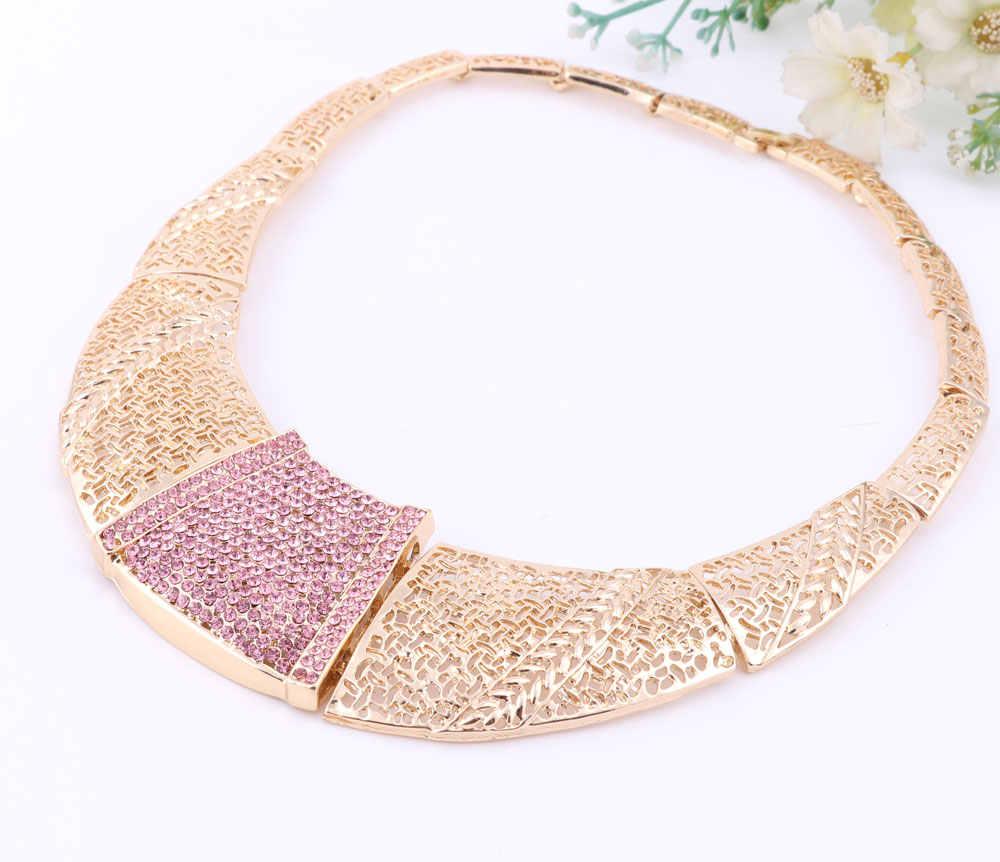 Afrykańska biżuteria ustaw złoty kolor różowy kryształ austriacki kobiety ślub naszyjnik bransoletka kolczyk pierścień zestaw biżuterii