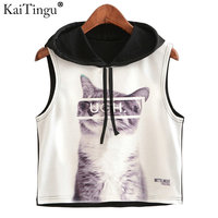 KaiTingu 2017 New Summer Fashion Women Hoodied Crop Top Sleeveless Cat Print Casual Top Women Short