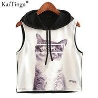 KaiTingu 2017 New Summer Fashion Women Hoodied Crop Top Sleeveless Cat Print Casual Top Women Short