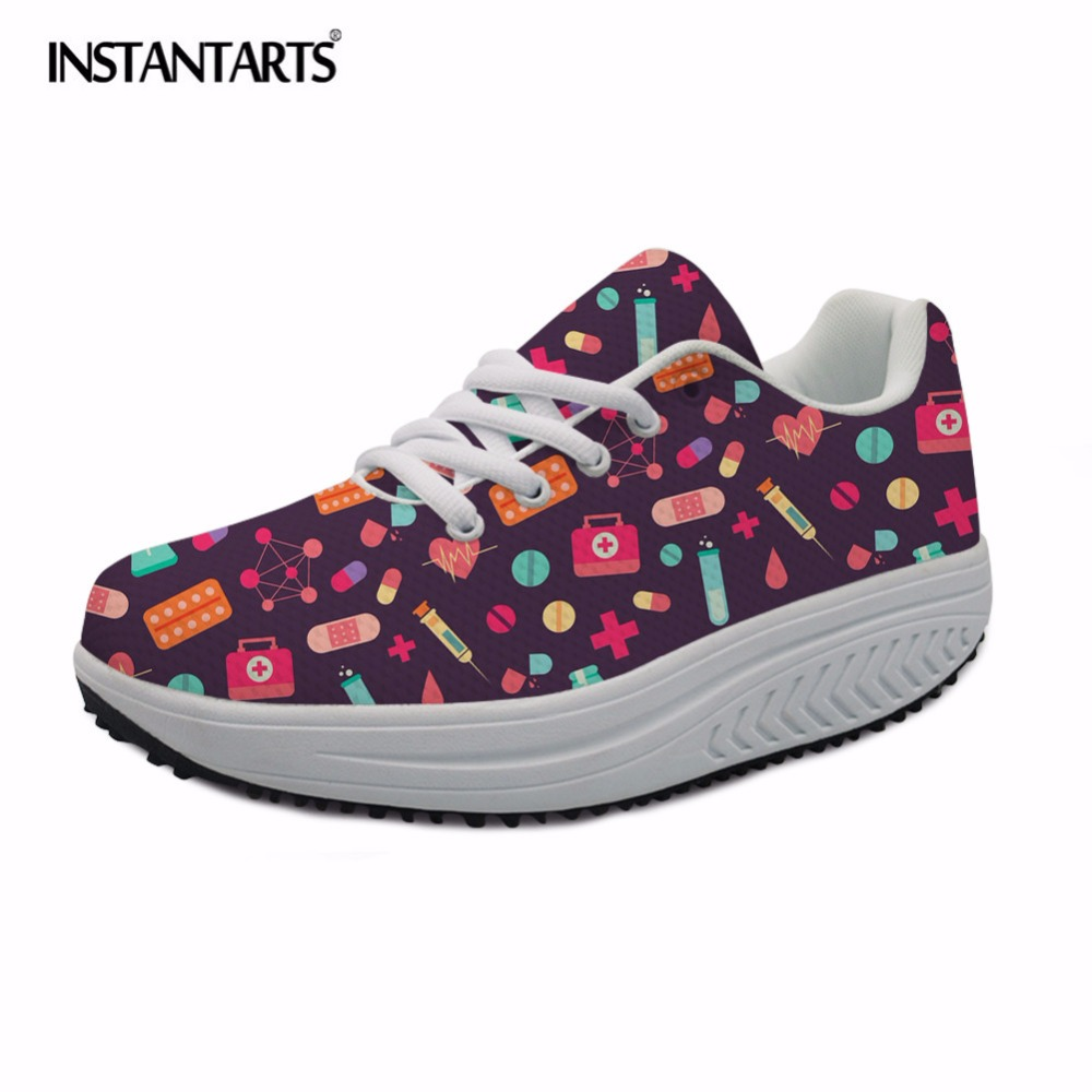 INSTANTARTS Casual Women Flat Shoes Cartoon Nurse Print Swing Shoes for Female Girls Spring Height Increasing Slimming Shoes instantarts summer mesh women flat shoes cartoon medical nurse sneaker shoes for girls ladies fashion light weight lace up flats