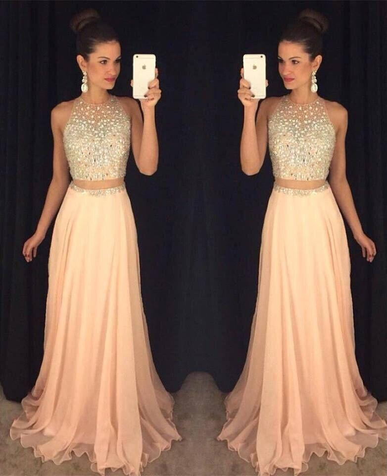 Two Pieces Robe De Soiree 2019 A-line Chiffon Beaded Crstals Sexy Long Women Party   Prom     Dresses     Prom   Gown Evening   Dresses