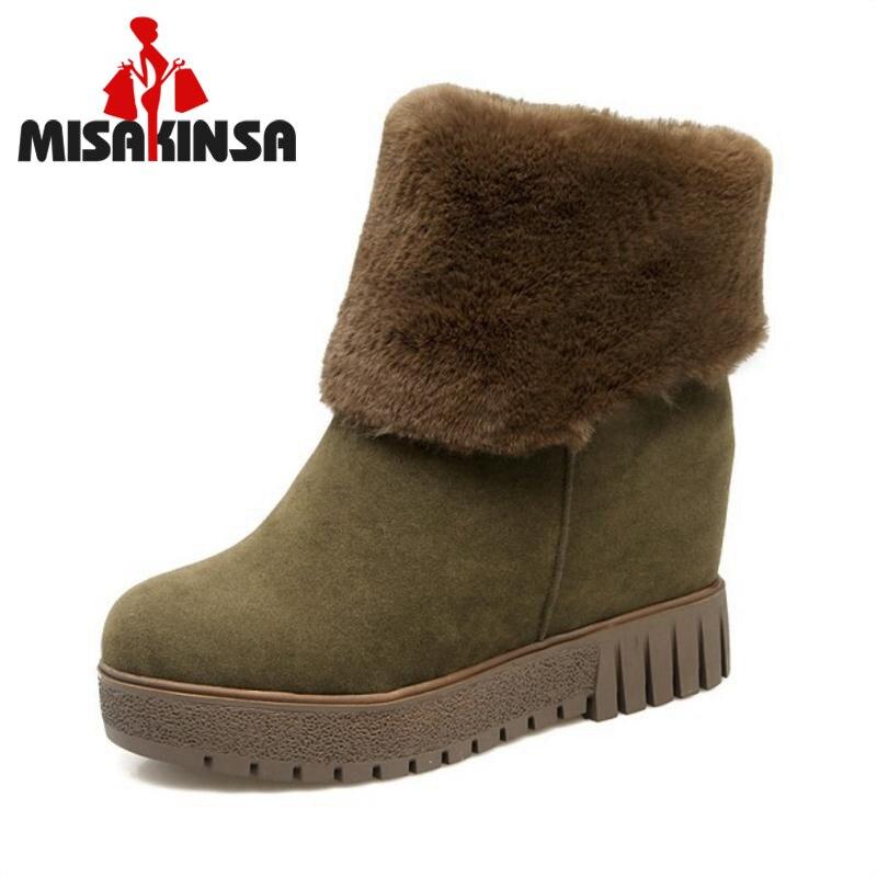 MISAKINSA Freies Verschiffen Größe 33-44 Frauen Keile Mitte Kalb Schnee Stiefel Frauen Plüsch Fell Winter Dicke Plattform Slip auf Schuhe Frauen