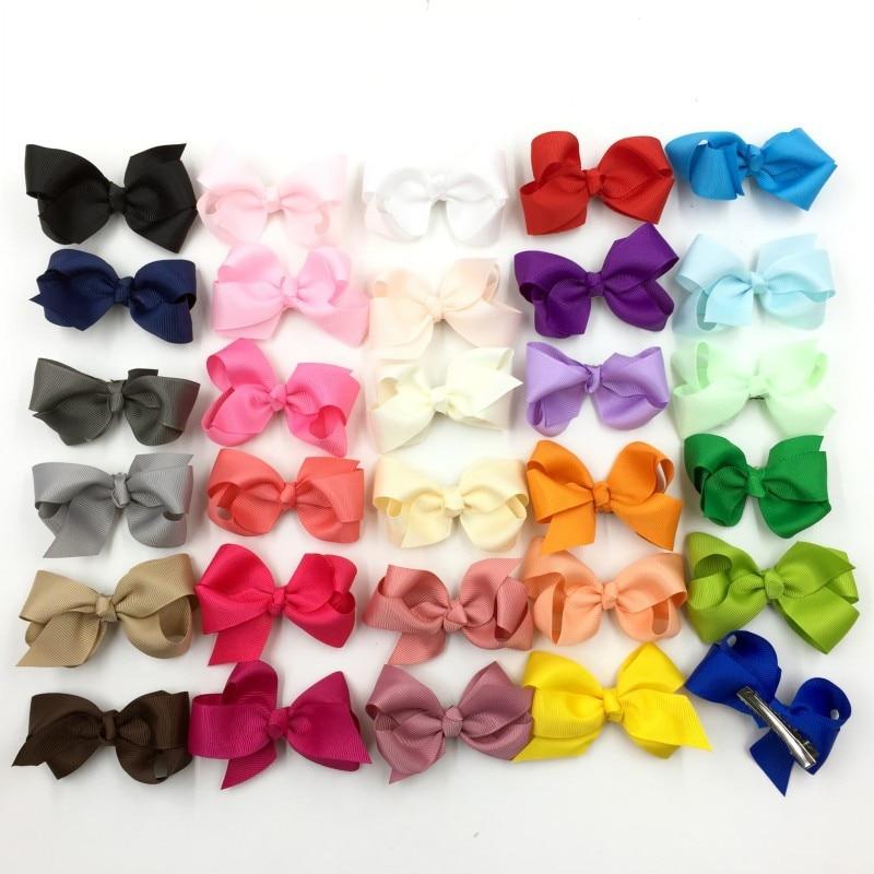 30pcs/lot 7.6cm Grosgrain Ribbon Flower Bows For Hair Clips For Women Baby Boutique HeadBows Girls' Hair Accessories