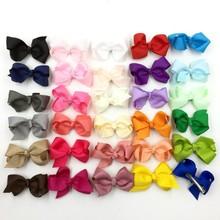 30pcs/lot 7.8cm Grosgrain Ribbon Flower Bows For Hair Clips For Women Baby Boutique HeadBows Girls' Hair Accessories