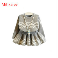 New 2015 Autumn Winter Kids Clothing Fashion Grey Baby Girls Clothes Sets Long Sleeve Sweater Skirt