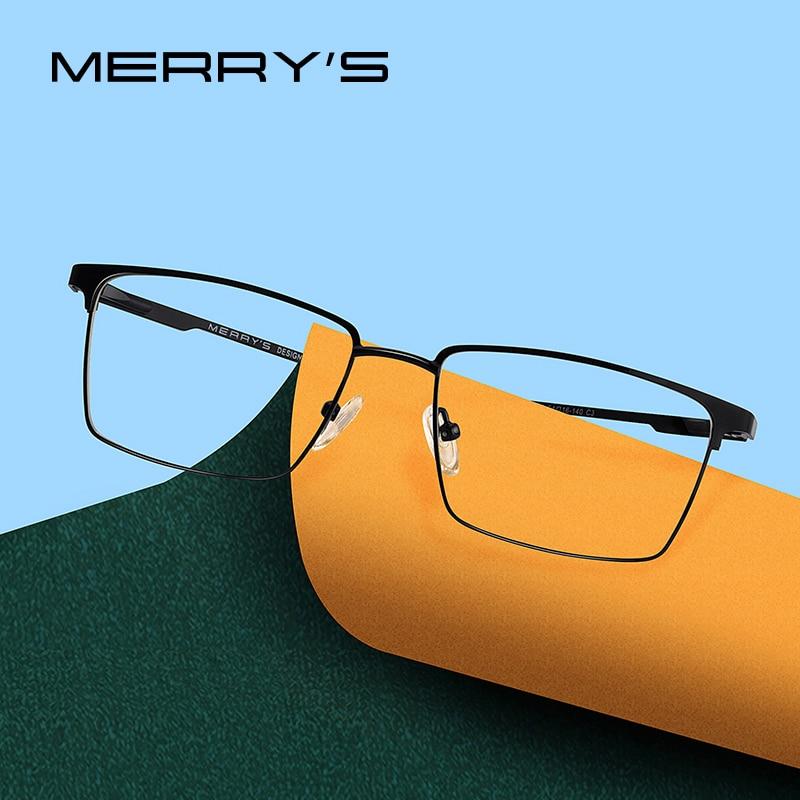MERRYS DESIGN Men Titanium Alloy Glasses Frame Ultralight Eye Myopia Prescription Eyeglasses Male Optical Frame S2045