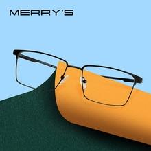 MERRYS 디자인 남자 티타늄 합금 안경 프레임 초경량 눈 근시 처방 안경 남성 광학 프레임 S2045