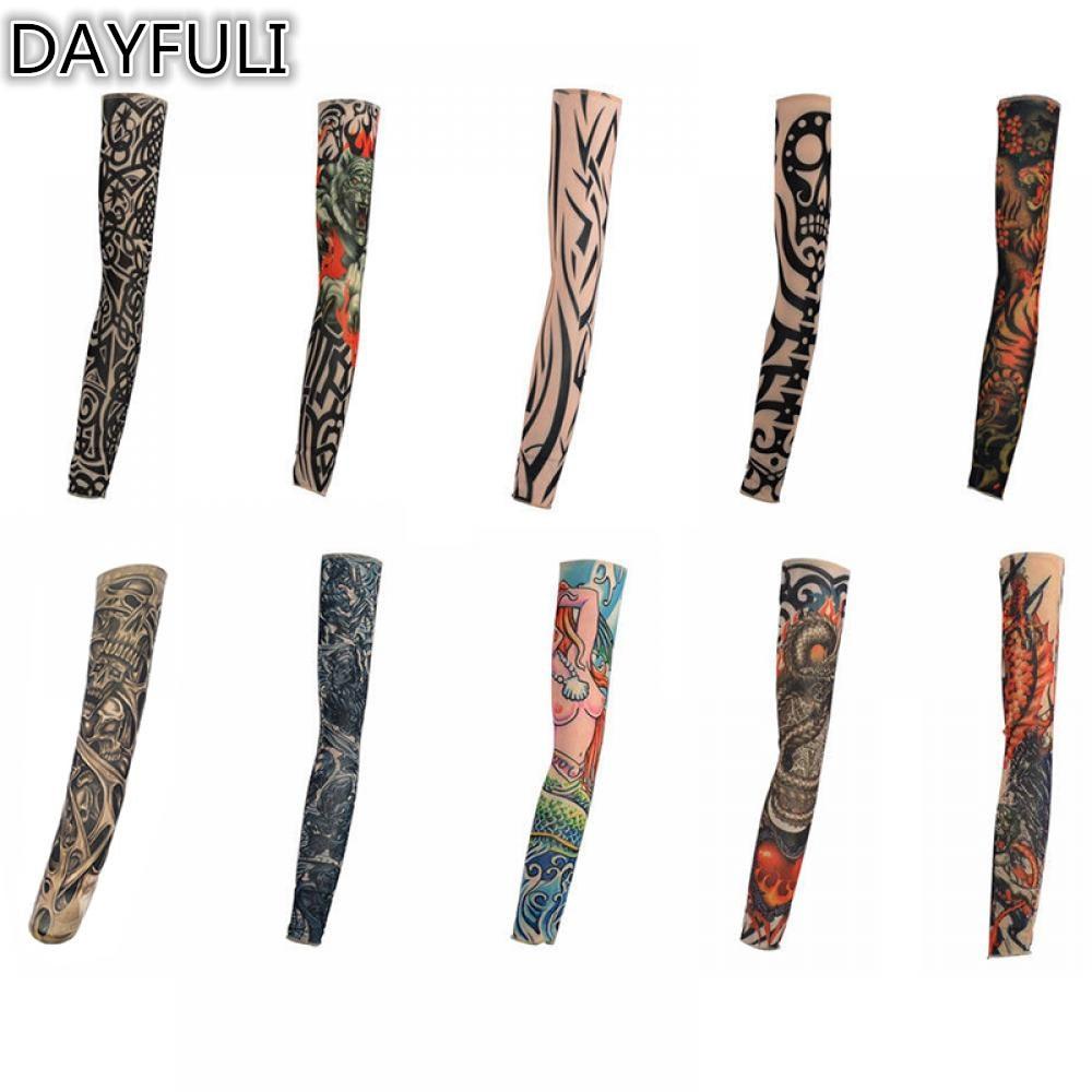 10 Stílusok Mix Nylon Stretchy ideiglenes tetováló ujjú Fashion - Tetoválás és testmûvészet