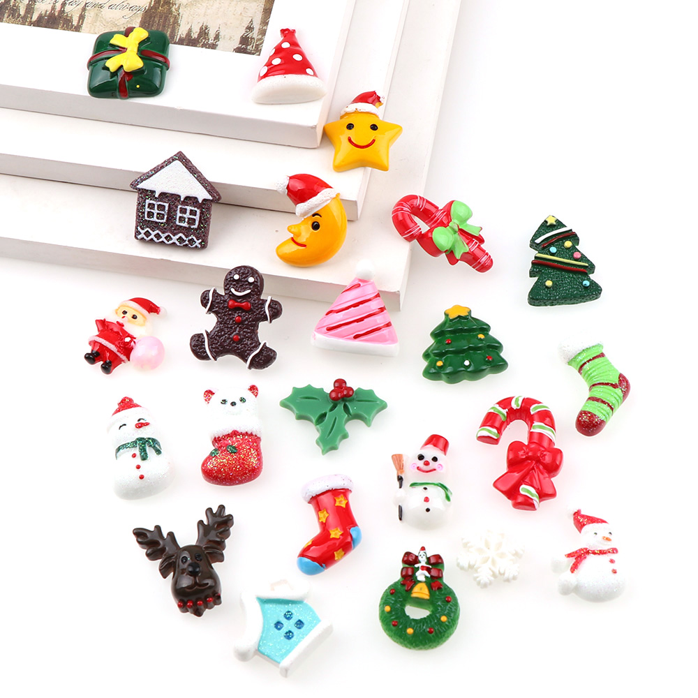Mix Designs 30pcs Christmas Style Tree Bow Shoes Dessert Cartoon DIY ...