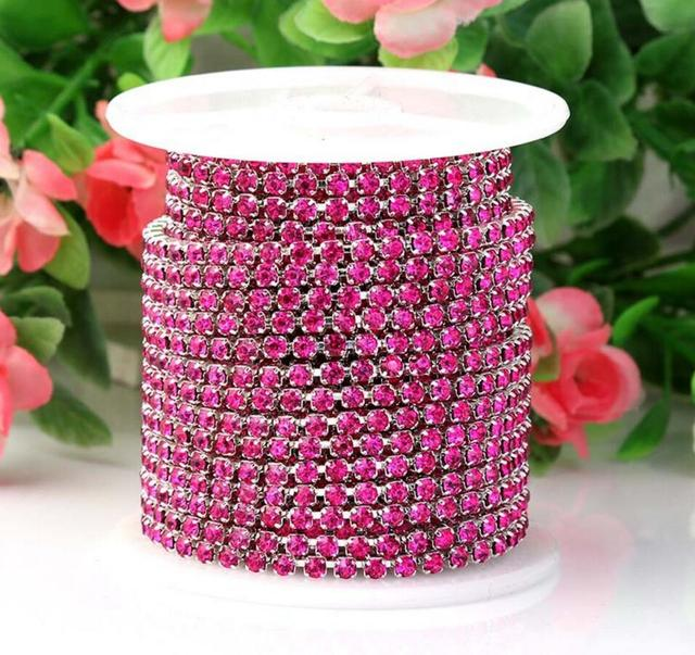 10 Meters SS8.5 2.5mm Hot Pink Diamond Crystals Rhinestones Silver Plated  Setting Chain Trim Sewing Bags shoes Headband c9ac7fc9d0ba
