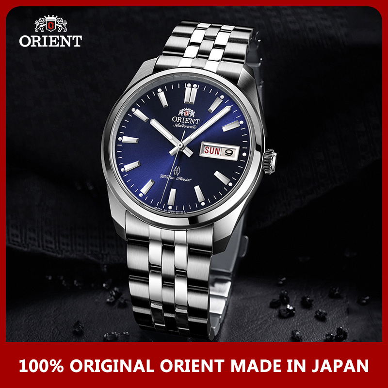 English Week Display Original ORIENT Watch Men's Automatic Mechanical Watches Fashion Business Luminous Stainless Steel Straps-in Mechanical Watches from Watches