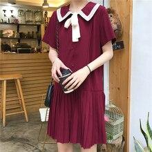 3 Colors Black Chiffon Korean Dress Summer Preppy Style Tie Harajuku Kawaii Ladies Dresses Women All-match Pleated Elegant