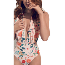 One Piece Flower Swimwear Swimsuit Women Backless Bathing Suit Back Cross Bandage Monokini Beach Wear Retro Swim Suit