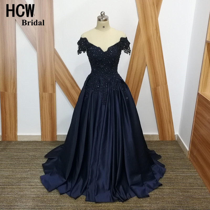 Navy Blue Evening Dress Beaded Lace Satin A Line Panjang Formal Evening Gown 2019 V Neck Lace Up Back Elegant Arab Partai Dresses