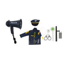 9Pcs/ set Police Officer Set Kid Role Play Toy Megaphone w/ Siren Sounds Uniform Hat Handcuff Props Kit for Policeman Pretend(China)