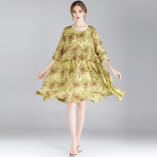 large size Women's fashion casual loose print dresses Plus size High waist High-end Elegant dress tencel spring new oversize недорого