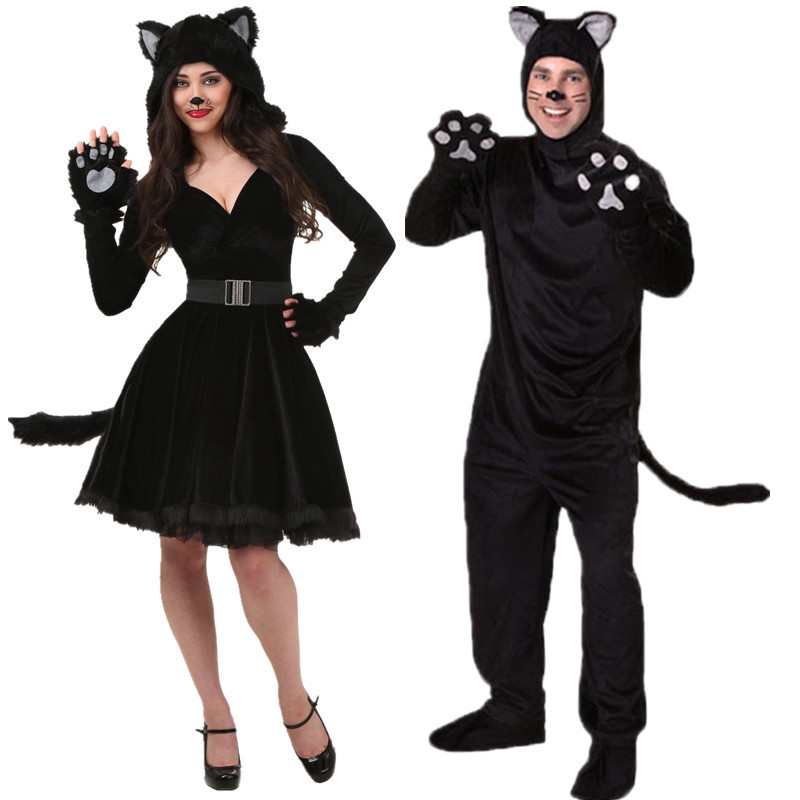 Adult Black Bear Costume Pajamas Sleepwear Jumpsuit Cosplay Halloween for Women Fantasia Cosplay Halloween Cat Girl Devil Wear