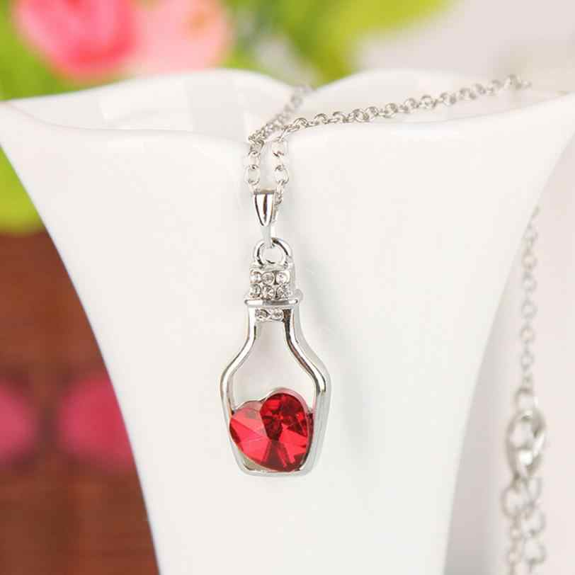SUSENSTONE Fashion Love Drift Bottles Pendant Necklace Heart Crystal Pendant Necklace for women Vintage Jewelry Collares Mujer#1