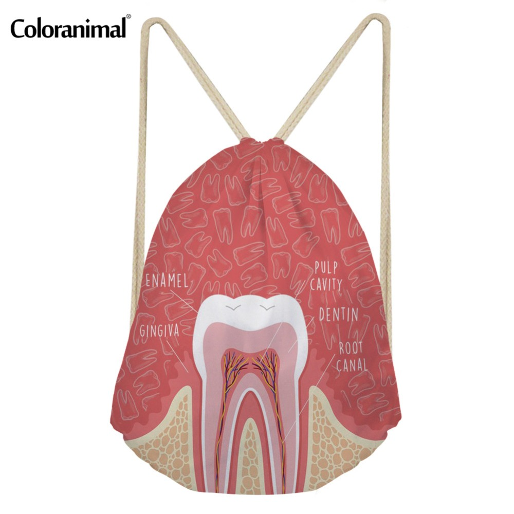 Coloranimal Travel Drawstring Bag Floral Dentist/Teeth Anatomy/Tooth Care Print Women String Folding Backpack Small Sack Satchel