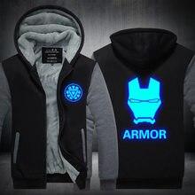 New Winter Jackets and Coats Iron Man hoodie Anime armor Luminous Hooded Thick Zipper Men Sweatshirts Plus size