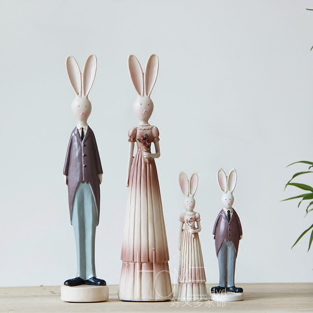 2pcs/set Home Decor Ornament Garden Yard Resin Rabbit Bunny Figurine  Wedding Decoration Valentineu0027s Gift