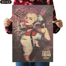 1PC 51.5X36cm Suicide Squad Margot Robbie Harley Quinn Film Vintage Poster Home Decor Painting Classic Prints