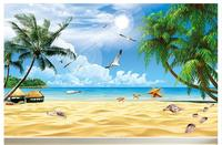 Free Shopping 2015 New Non Woven The Sea Coconut Shells Seagull Neptune Landscape Paintings Wallpaper
