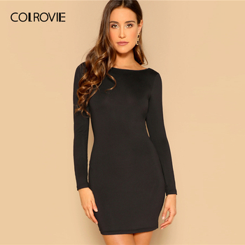 COLROVIE Black Draped Back Bodycon Dress Women 2019 Sexy Backless Summer Party Female Spring Long Sleeve Slim Short Dresses 1