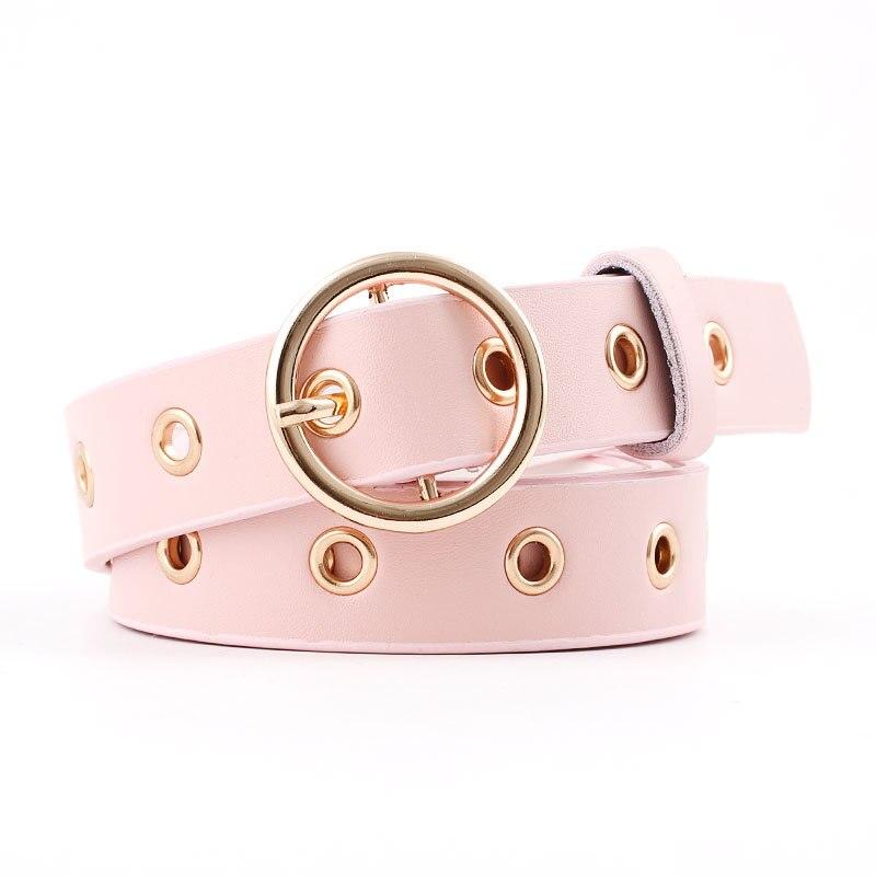 Женский кожаный ремень с круглой металлической пряжкой, круглые ремни от модного бренда в стиле панк с круглым кольцом для женщин - Цвет: Pink