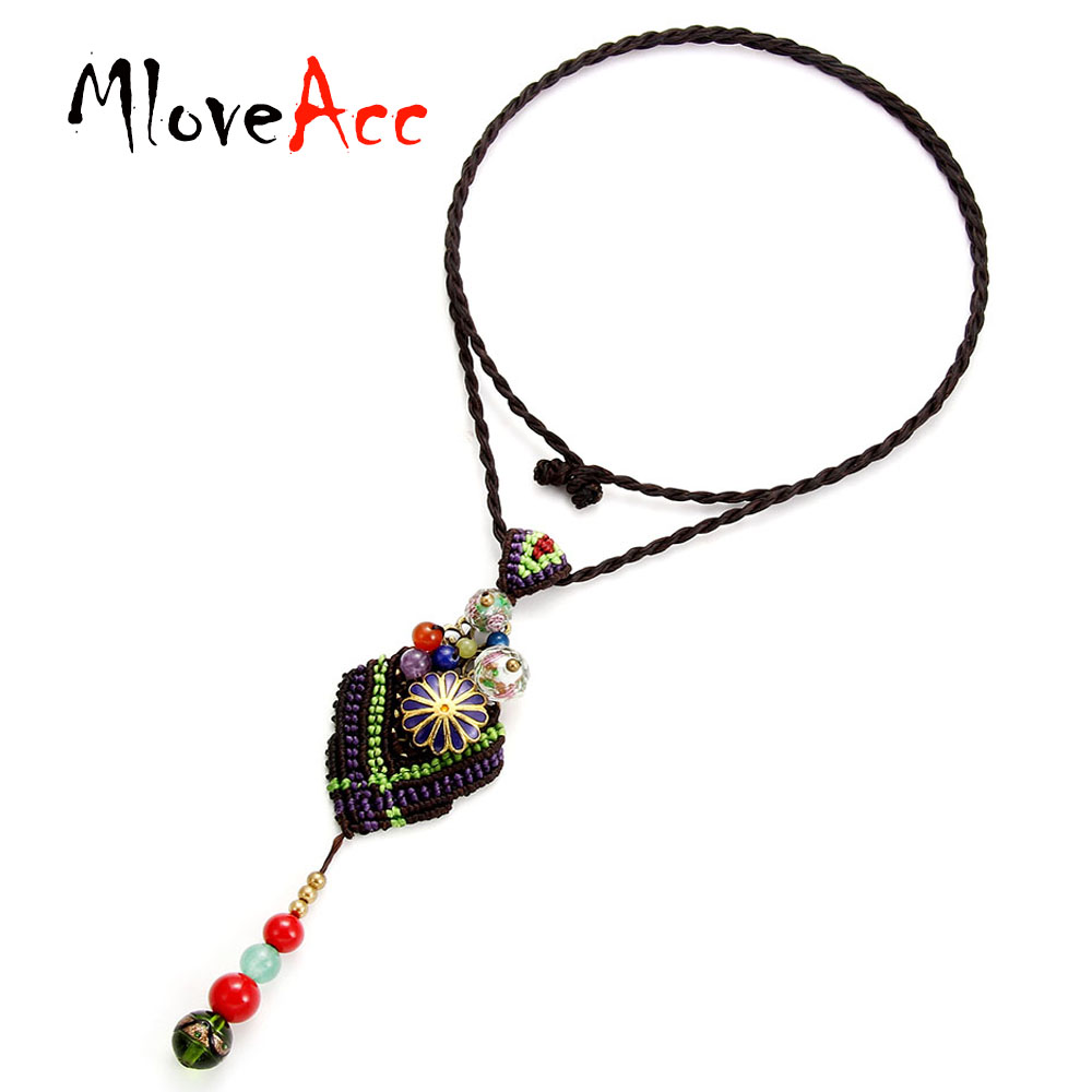 MloveAcc Brand Exotic Bohemia Style Handmade Braided Pendant Necklace Women Vintage Cloisonne Beads Charm Necklace Best Gift