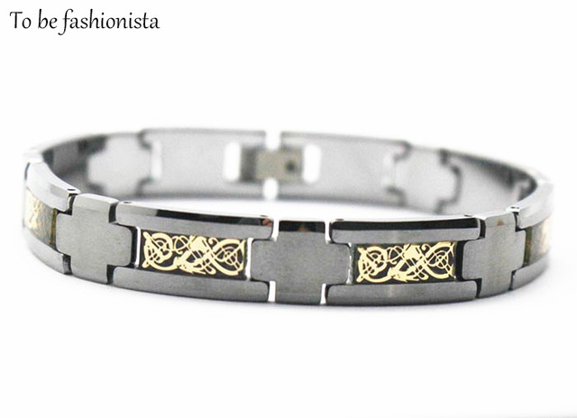 Mens gold plated Tungsten carbide jewellery bracelets black tungsten germanium bangle bracelets jewelry with gold carbon fiber