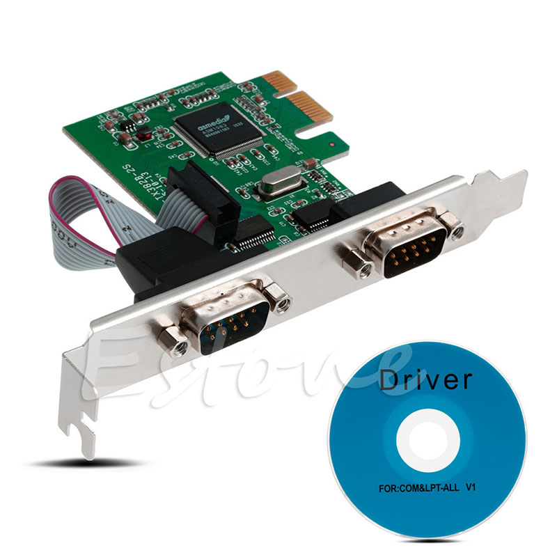 цена 2018 High Quality Plug And Play PCI-E PCI to Dual Serial DB9 RS232 Express Serial Controller 2-Port Adapter Card + Driver CD