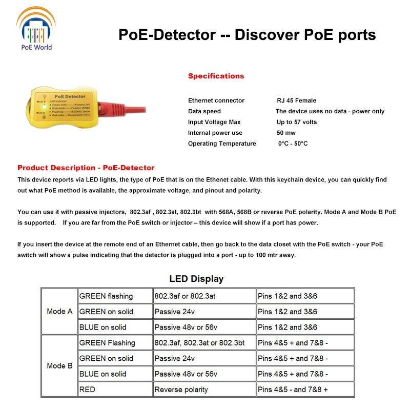 Image 5 - PoE Detector PoE Tester Quickly identify Power over Ethernet with RJ 45; LED Display indicates passive /802.3af/at; 24v/48v/56v