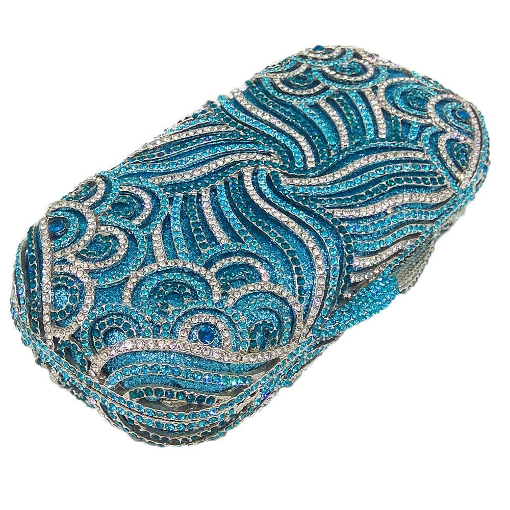 Boutique De FGG Fonkelende Diamant Kristal Vrouwen Blue Evening Purse Hollow Out Bridal Wedding Handtas Metalen Minaudiere Clutch Bag-in Top-Handle tassen van Bagage & Tassen op  Groep 3