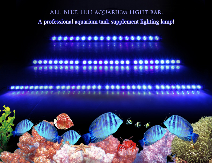 populargrow 54W 81W 108W Led Aquarium bar Light only 470nm blue spectrum beautiful your coral reef