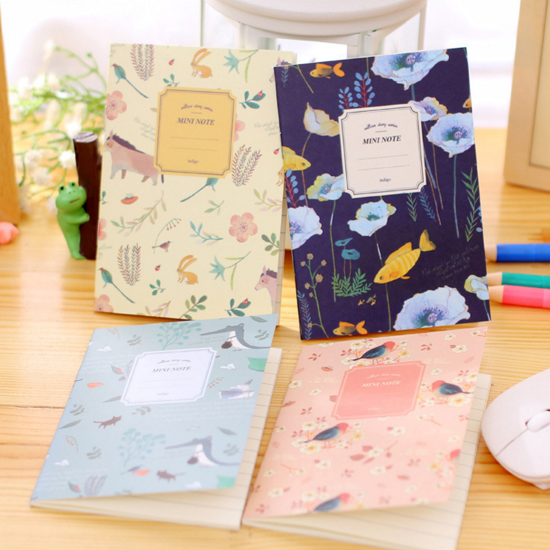 8PCS/Set Cute Mini Vintage Flower Notebook Lovely Animal Notepads for Kids Gifts Korean  ...