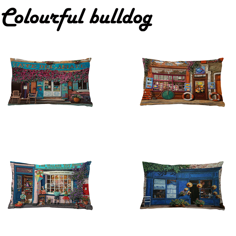 Art Cushion Cover <font><b>Grocery</b></font> <font><b>Store</b></font> Coffee Shop <font><b>Toy</b></font> Shop Bicycle Table Flowers Airport Lounge Car Houseware Decoration Pillow Cases image